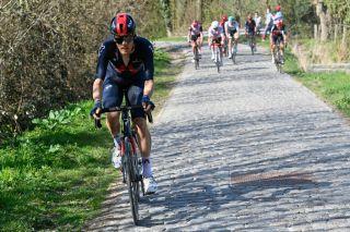 Dylan van Baarle (Ineos-Grenadiers) puts in his winning move in Dwars door Vlaanderen