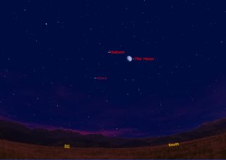 This sky map shows how Saturn, the moon and the bright star Spica will appear on May 14, 2011 as seen from mid-northern latitudes at about 9 p.m. local time.