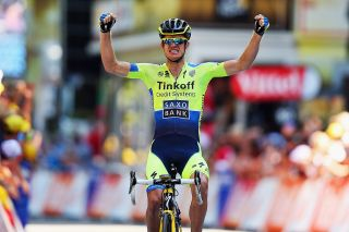 Michael Rogers (Tinkoff-Saxo) wins stage 16 of the 2014 Tour de France – his last professional victory ahead of retirement in 2016
