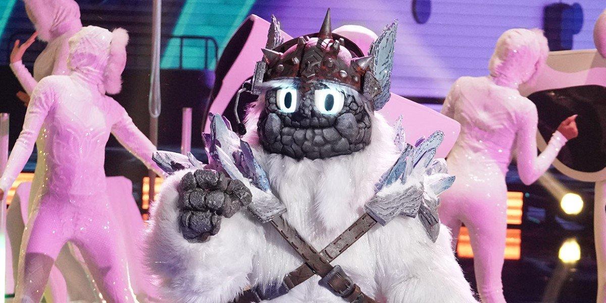 "Yeti performing ""Celebration"" in his final Masked Singer performance"