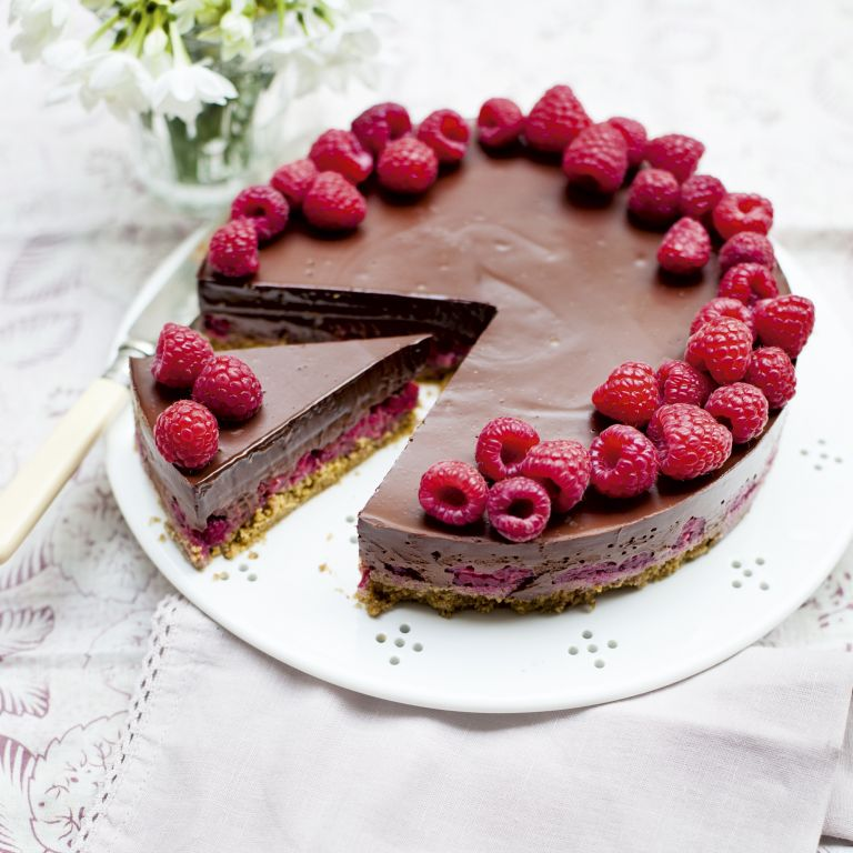 Chocolate and Raspberry Pie-food-spring dining-woman and home