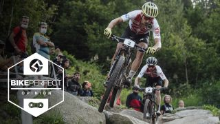 Nino Schurter on his way to winning the 2021 UCI MTB World Championship