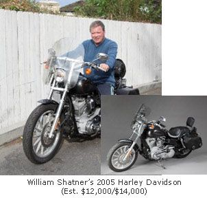 William Shatner on his motorcycle