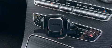 iOttie Easy One Touch 4 CD Slot Mount shown on a car dash