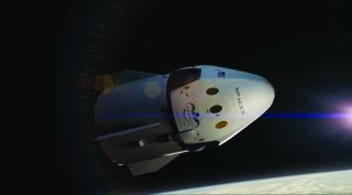 An artist's illustration of SpaceX's Crew Dragon spacecraft. The first test flights will launch between August and December in 2018.