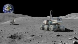 The annual SpaceCom expo kicks off in Houston this week, and the event will highlight commercial opportunities for NASA's return to the moon. Here, an artist's concept of a Ceres Robotics moon lander and lunar rover on the moon's surface.