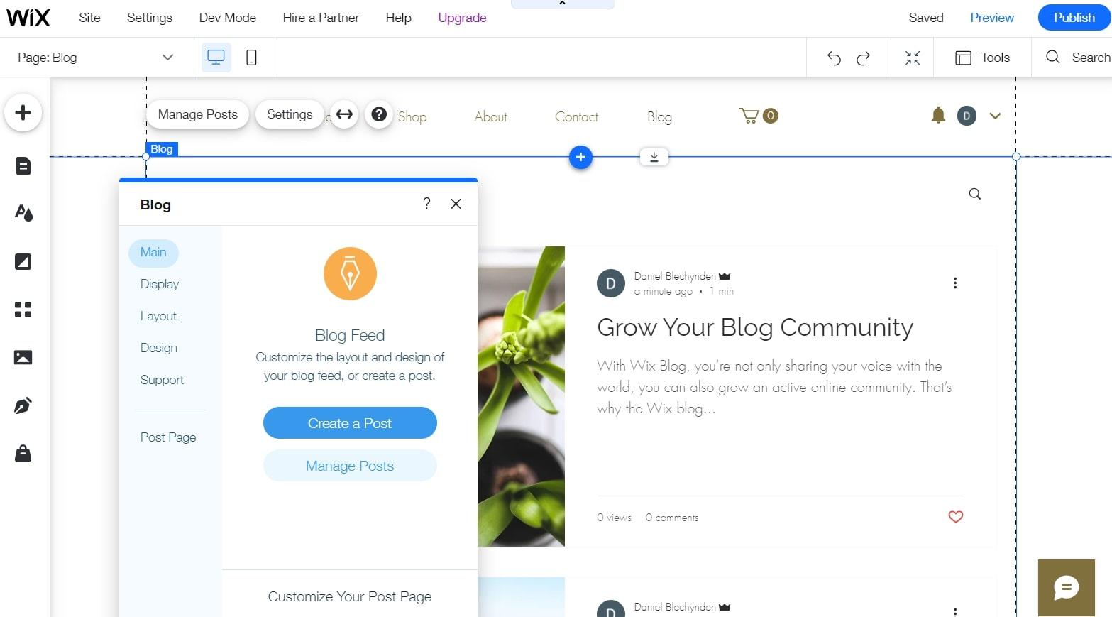 Wix's website editor's blogging menu