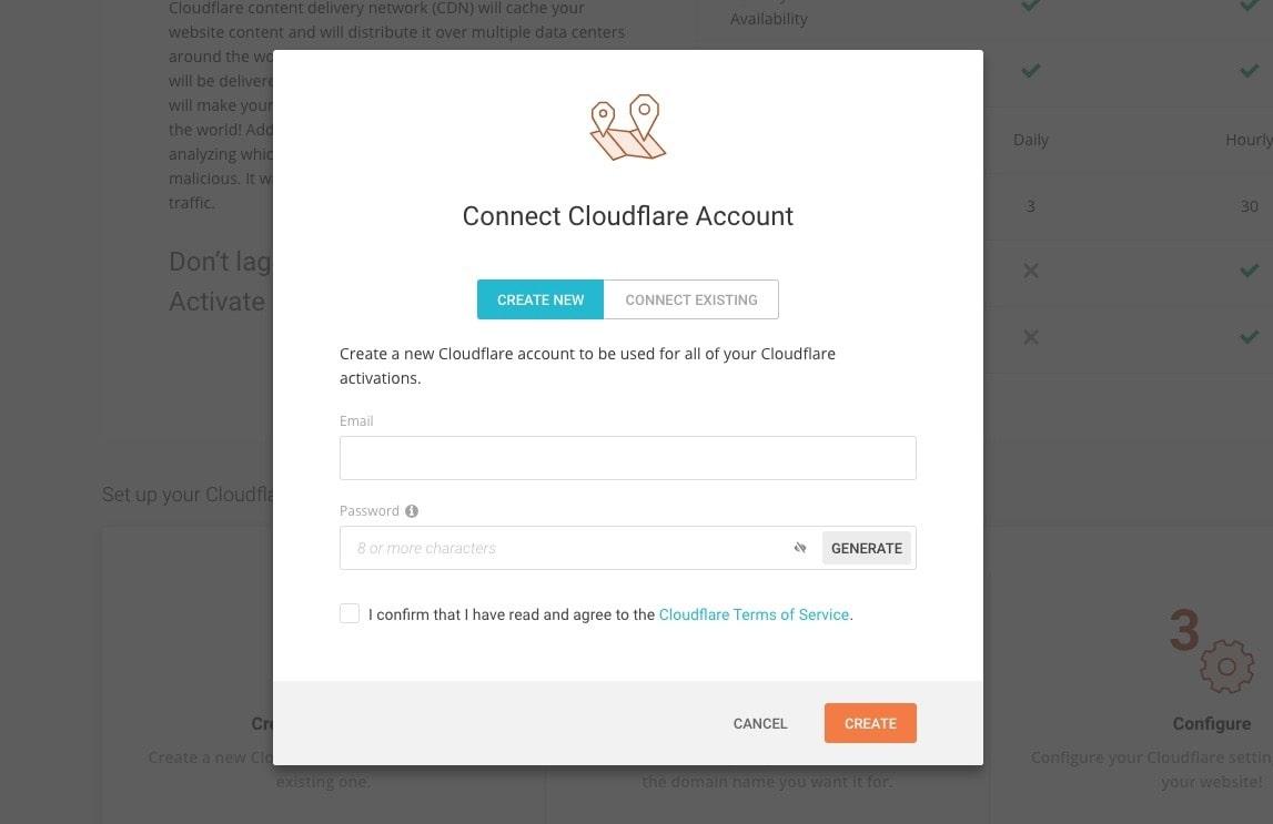 La fenêtre de la page Web de SiteGround permet la connexion au compte CloudFlare