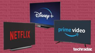 Netflix, Disney Plus and Amazon Prime Video streaming services running on some TV screens.