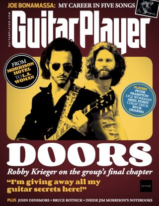 Robby Krieger (left) and Jim Morrison adorn the cover of Guitar Player's June 2021 issue