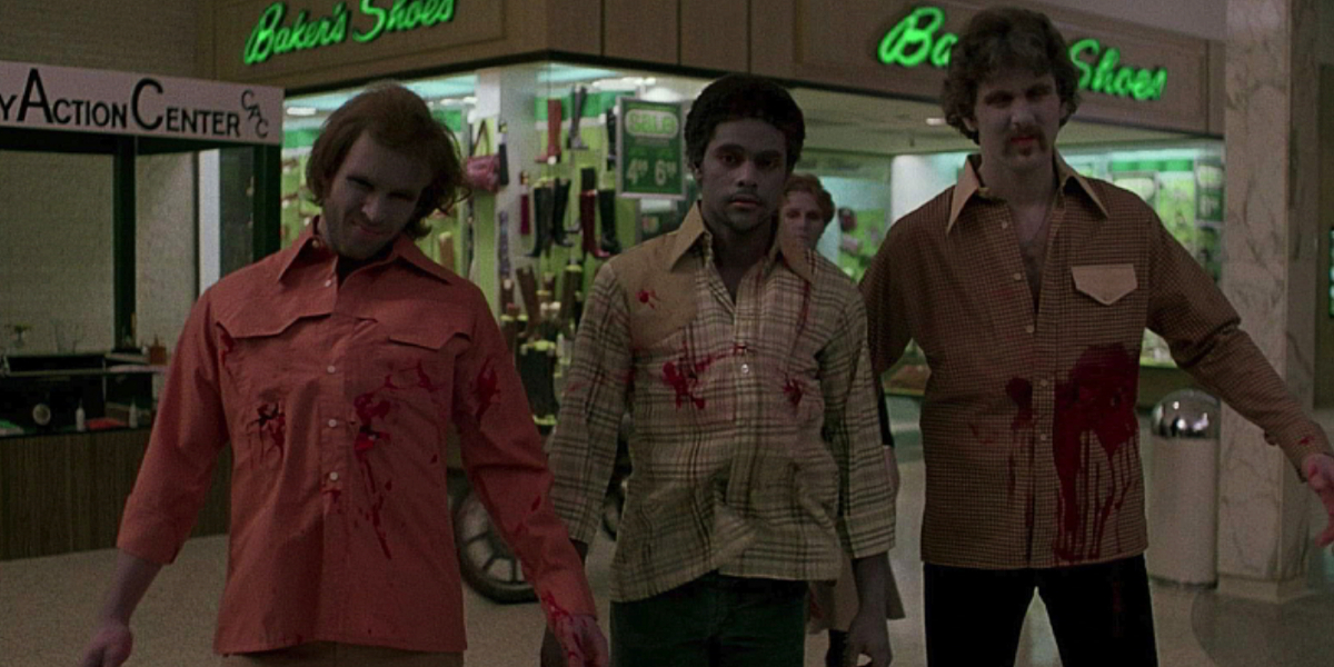 Zombies getting shot in Dawn of the Dead