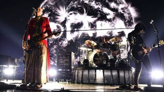 Billy Corgan and James Iha of The Smashing Pumpkins perform onstage during KROQ Absolut Almost Acoustic Christmas 2018 at The Forum on December 8, 2018 in Inglewood, California