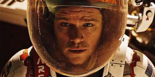 Mark Watney stares into the camera while wearing a space suit in 'The Martian'