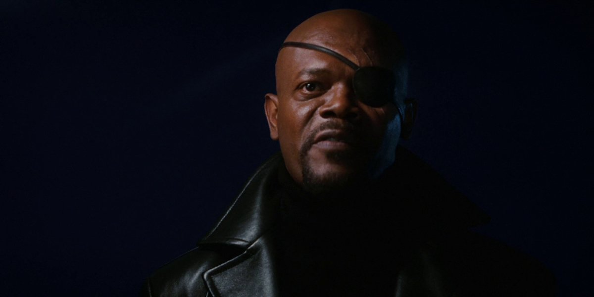 Samuel L. Jackson as Nick Fury in Iron Man post-credit scene