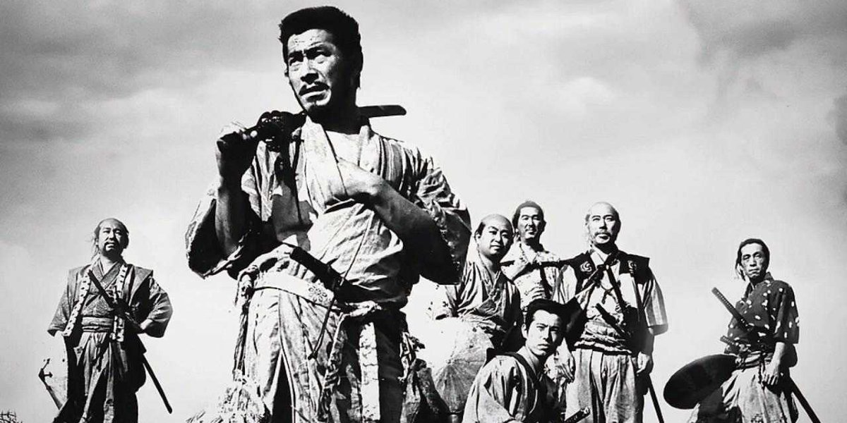 The samurai preparing for battle in Seven Samurai