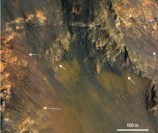 Dark Streaks on Slopes of Mars