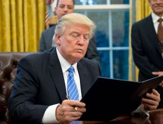 President Donald Trump in the Oval Office in January 2017.