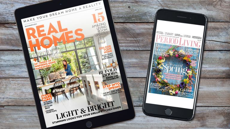 ipad and iphone showing covers of Real Homes and Period Living magazines