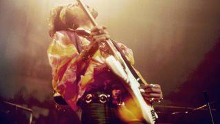 Jimi Hendrix performs live at London's Royal Albert Hall