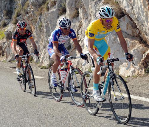 Alberto Contador, Joaquim Rodriguez and Alejandro Valverde, Paris-Nice 2010, stage seven