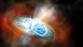 Two neutron stars colliding