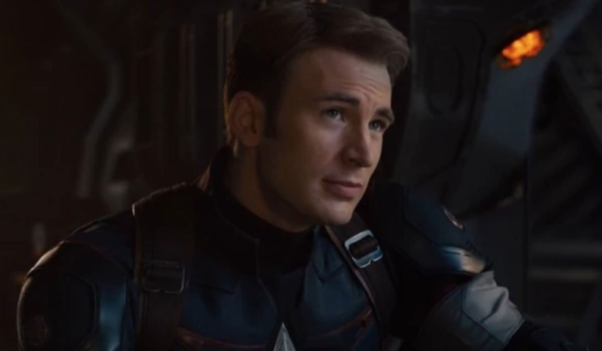 Chris Evans dressed as Captain America.