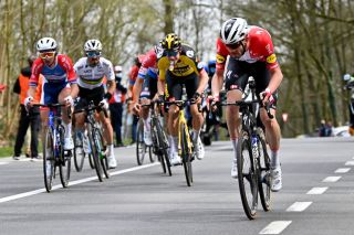 Danish Kasper Asgreen of Deceuninck QuickStep pictured in action during the 105th edition of the Ronde van Vlaanderen Tour des Flandres Tour of Flanders one day cycling race 254km from Antwerp to Oudenaarde Sunday 04 April 2021 BELGA PHOTO DIRK WAEM Photo by DIRK WAEMBELGA MAGAFP via Getty Images