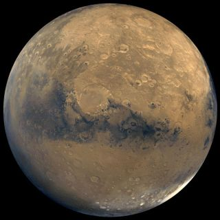 This global view of Mars consists of about 100 Viking Orbiter images.