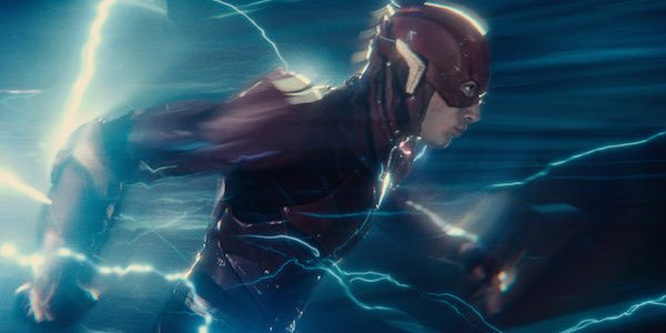 The Flash surrounded by lightning in Justice League