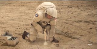 Astronaut drilling on Mars art