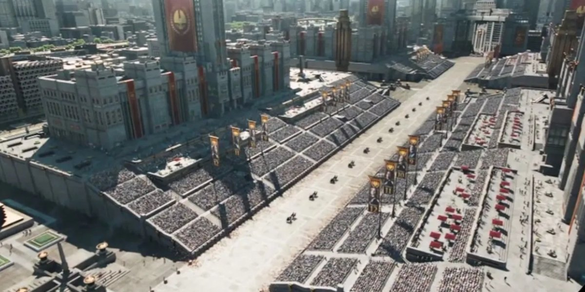 Overhead view of The Capitol in The Hunger Games