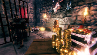 A Viking surveys their riches as gold stacks and treasure litter the floor