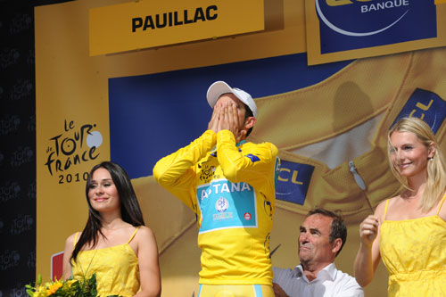 Alberto Contador after stage 19 TT, Andy Jones at the Tour de France 2010