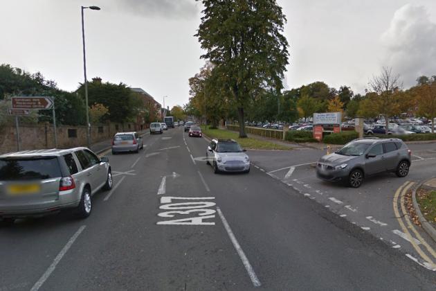 The A307 Portsmouth Road outside Sandown Racecourse (Google Maps)