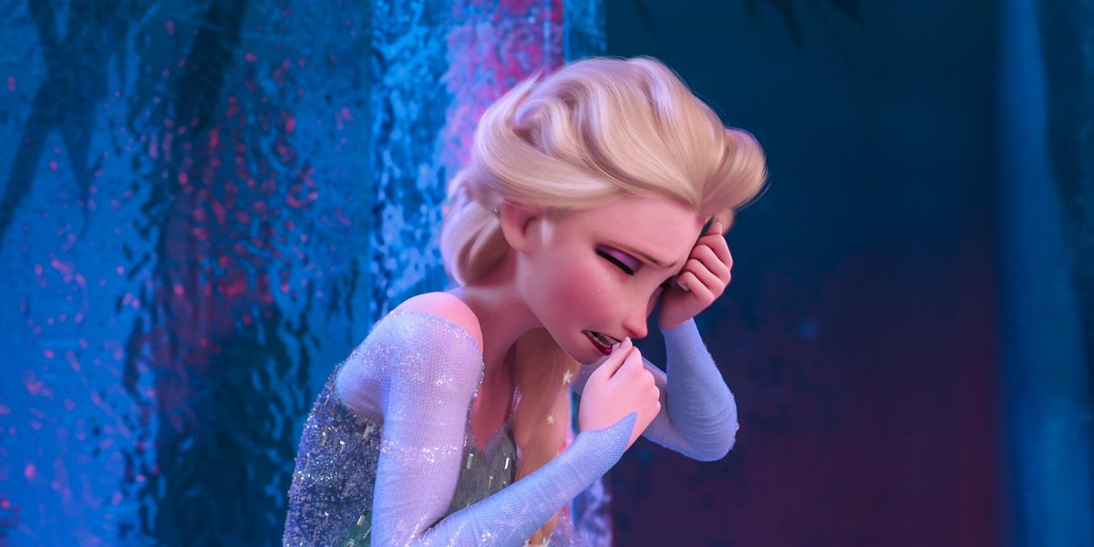Frozen Elsa crying in her ice castle