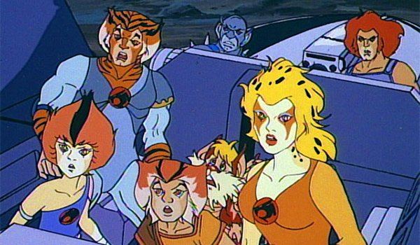 The ThunderCats riding in a vehicle in the original series