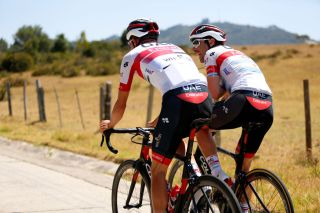 UAE Team Emirates teammates Cristian Muñoz and Max Richeze train together ahead of the Tour Colombia 2.1, early on in the 2020 season