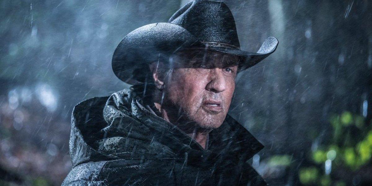 Rambo getting rained on in Rambo: Last Blood