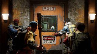 Back 4 Blood screenshot showing survivors exiting a safe room.