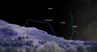 The moon, Jupiter and Saturn will form a triangle in the sky on the evening of Oct. 22, 2020.