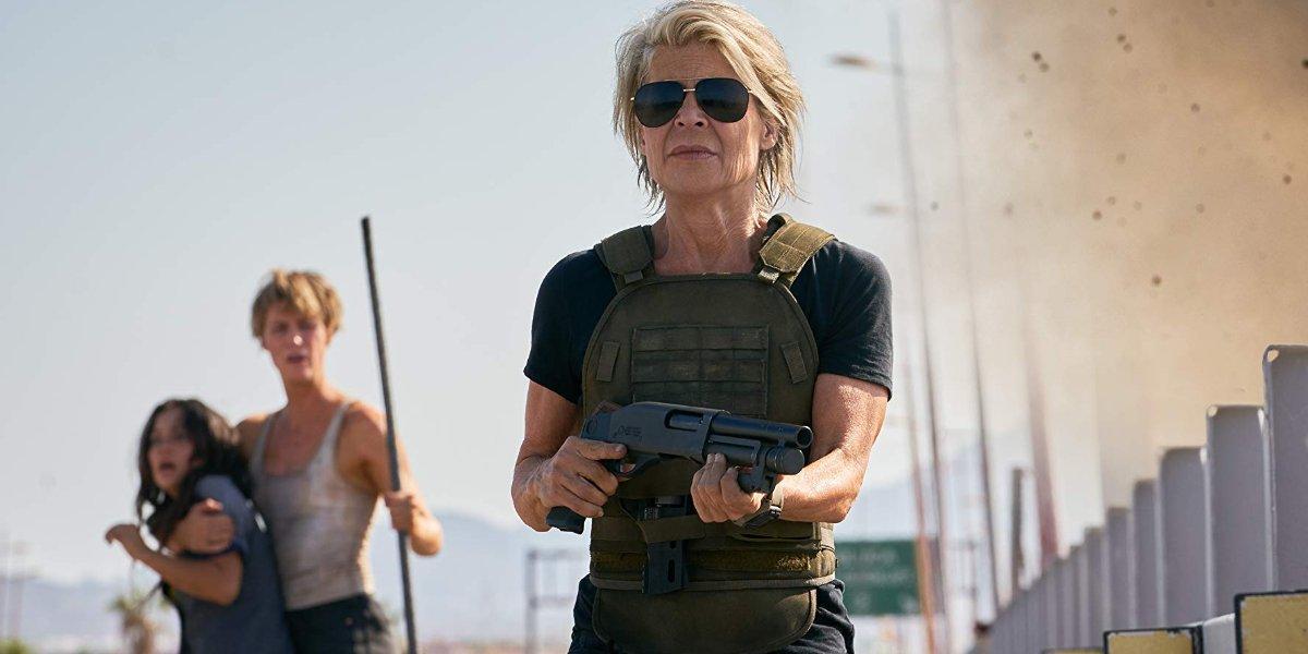 Terminator: Dark Fate Sarah Connor stands with a shotgun