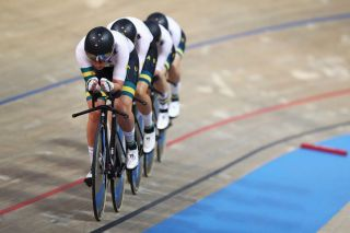 The Australian women's team pursuit squad competes at the 2019 UCI Track World Championships in Pruszkow, Poland