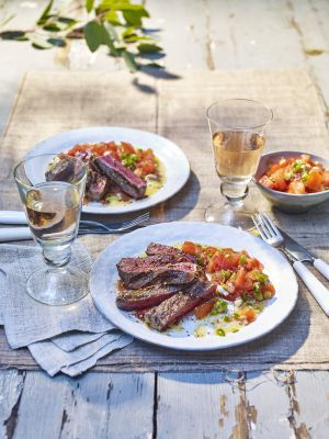 Treat yourself to this divine sirloin steak salad with dukkah and salsa