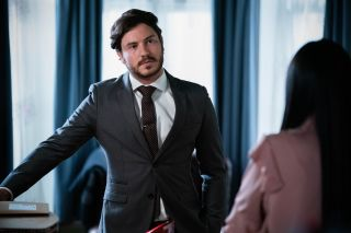 Gray Atkins confronts Chelsea Fox in EastEnders
