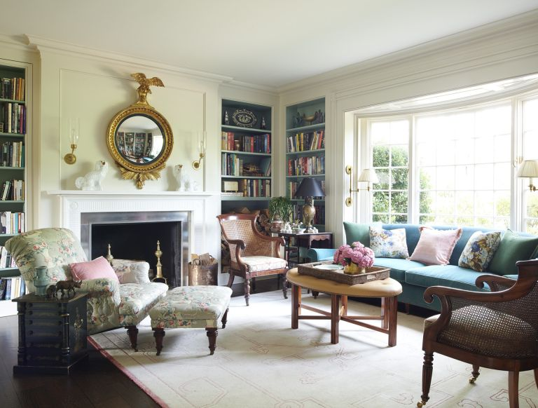 traditional fireplace ideas in a traditional yellow living room