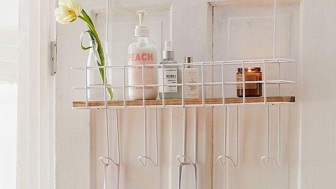 Over door storage from Urban Outfitters: Devon Over-The-Door Multi-Hook Shelf
