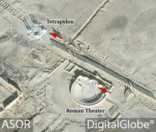 Satellite images showed significant damage to Palmyra's Tetrapylon and Roman theater in January 2017.