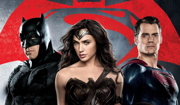 Batman v. Superman: Dawn of Justice Batman, Wonder Woman, and Superman line up in front of the logo