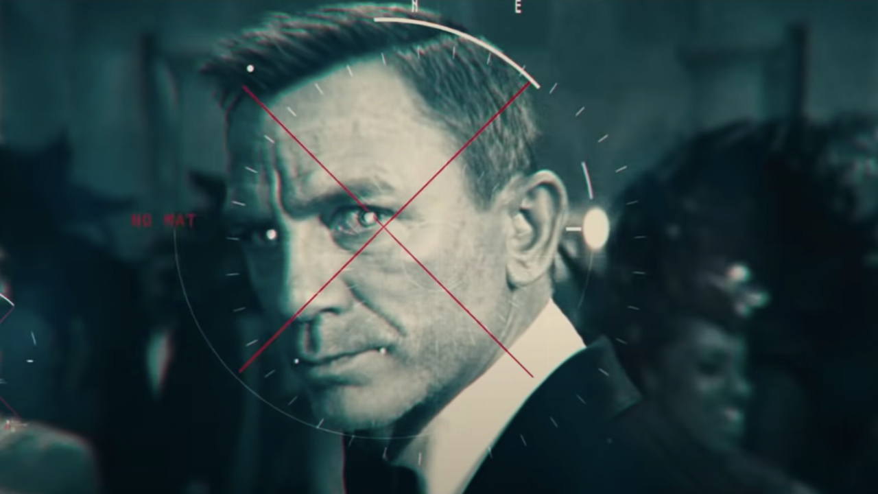 Daniel Craig targeted on a digital display in No Time To Die.