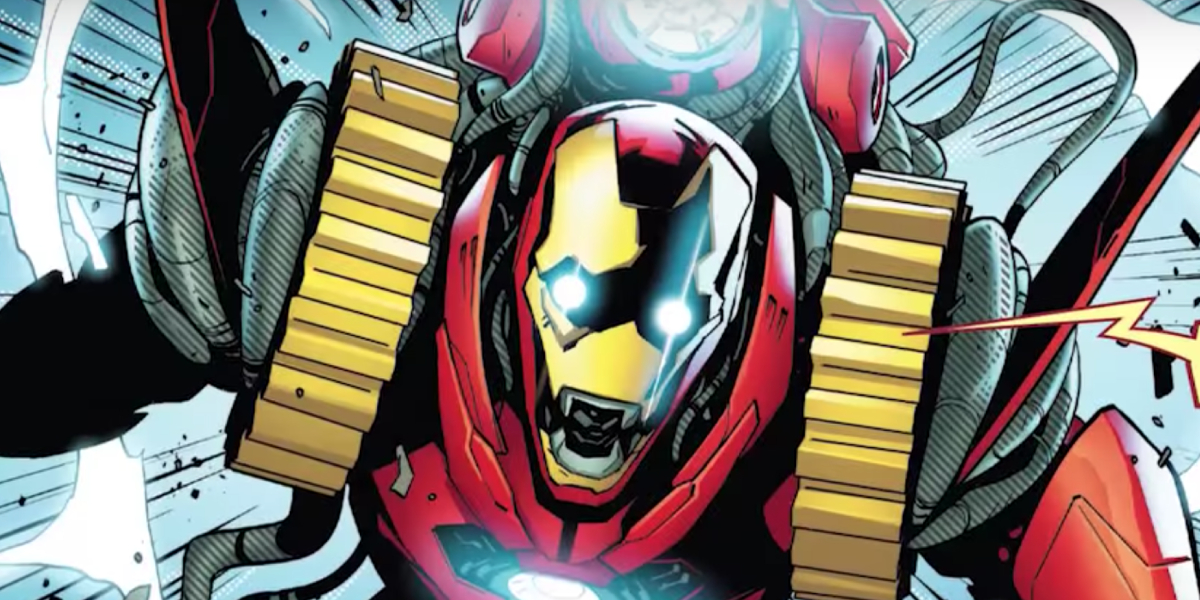 Tony Stark wears his Godbuster Iron Man suit